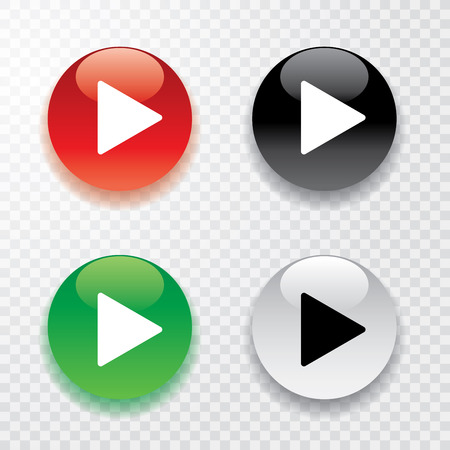 collection of four play buttons with transparent shadow Stock Illustratie
