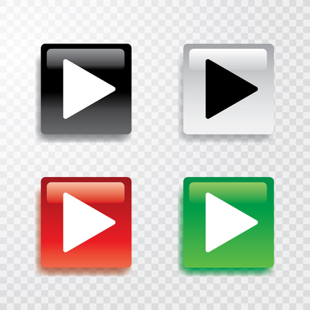 green button: collection of four square play buttons with transparent shadow Illustration