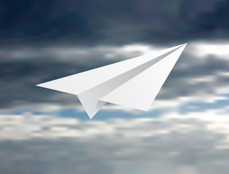 illustration of the paper plane fly on the cloudy sky