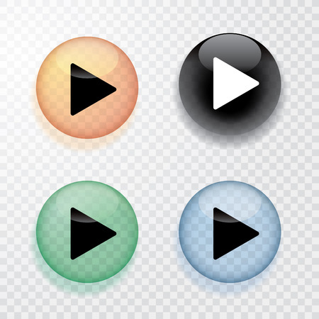 green button: collection of four transparent play buttons with shadow