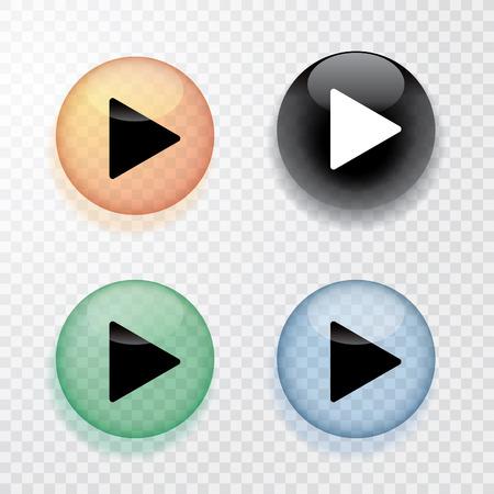kolekcja czterech przezroczystych przycisków odtwarzania z cienia