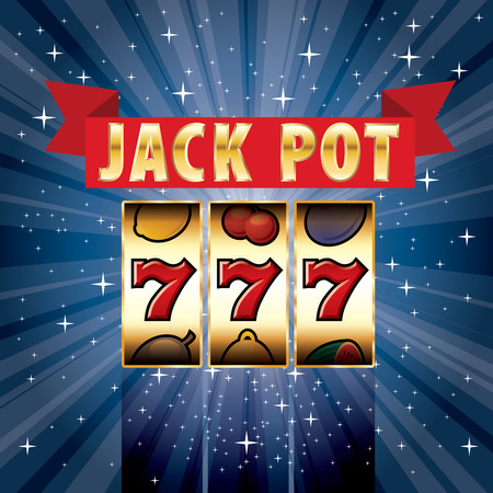 casino sign: three seven jackpot on starry night, gambling background
