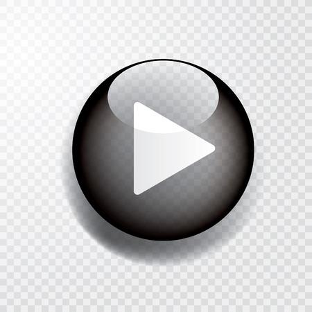czarny przezroczysty przycisk odtwarzania, ikona z cieniem Ilustracje wektorowe
