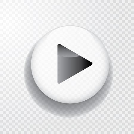 play: botón de reproducción transparente blanco con la sombra, icono Vectores