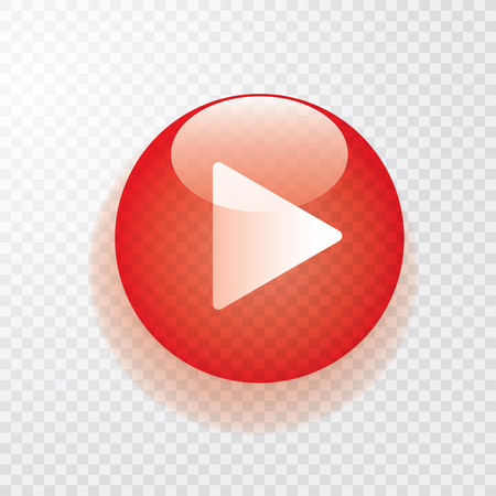 red transparent play button with shadow, icon