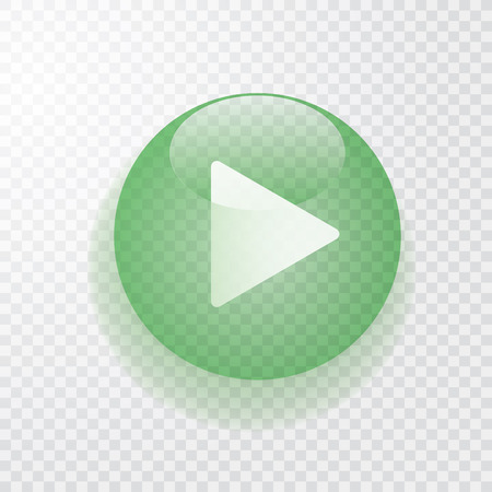 green transparent play button with shadow, icon