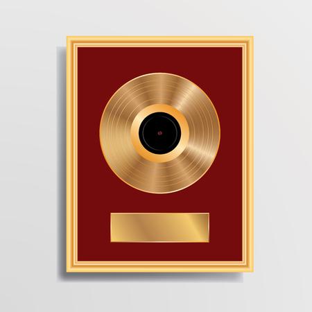 vuoto LP d'oro nella cornice dorata, illustrazione, sfondo