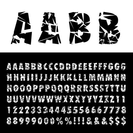 grunge broken alphabet, broken glass font, cut out letters Vettoriali