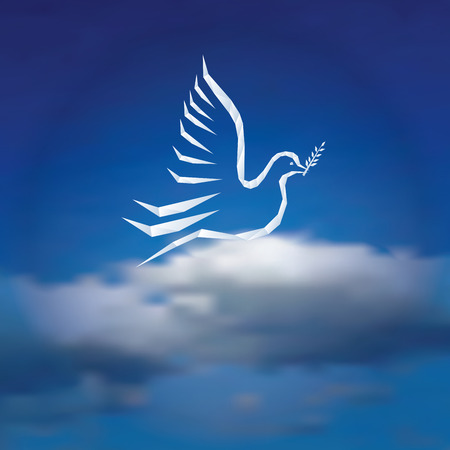 peaceful background: illustration with dove with olive branch on cloudy sky, peaceful background