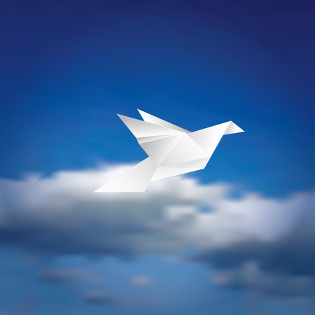 peaceful background: illustration with paper bird on cloudy sky, peaceful background Illustration