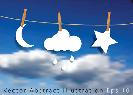 moon shadow: original symbolic abstract illustration with moon, cloud with rain and star on rope, realistic background Illustration