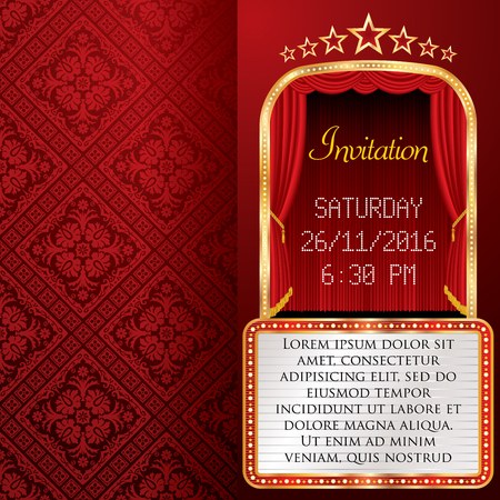 red stage curtain: layout of invitation card with red stage curtain and white billboard,  background