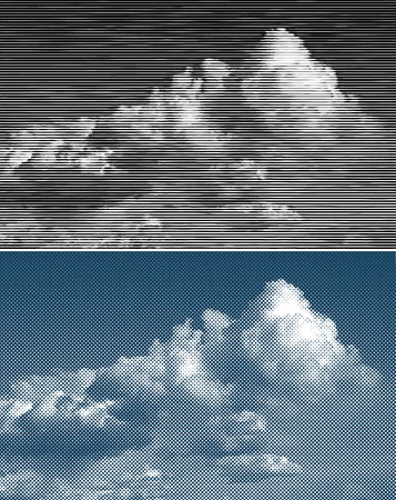 vector raster background: vector illustration with clouds on sky, dotted and linear halftone raster background