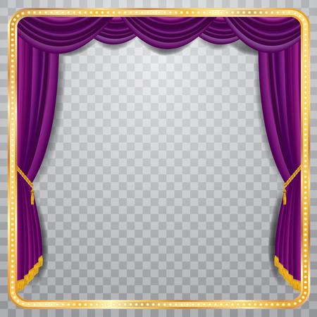 Bühne mit violetten Vorhang, goldenen Rahmen und transparent Schatten, leere Hintergrund, vielschichtig und voll editierbar