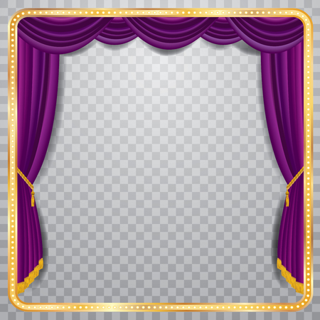 sipario chiuso: palco con sipario viola, cornice dorata e ombra trasparente, sfondo bianco, livelli e completamente modificabili Vettoriali