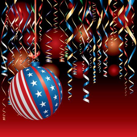Illustration mit USA Weihnachtsball, patriotischer Hintergrund