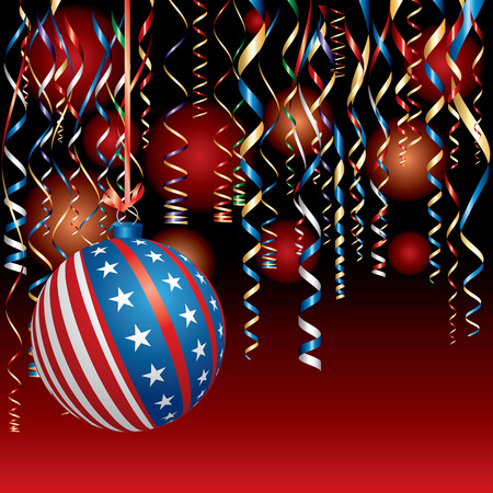 illustration with USA Christmas ball, patriotic background