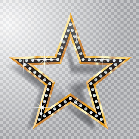 transparent black and golden star with diamonds