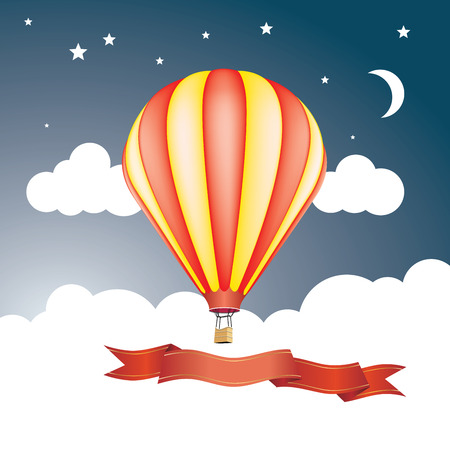 red and yellow balloon in sky with clouds stars and moon Illustration