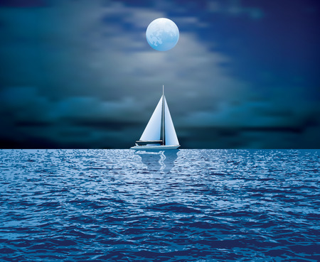sailboat sail on blue sea ocean horizon Illustration