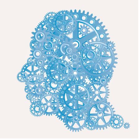 perfil humano con los engranajes, ilustración abstracta del cyborg