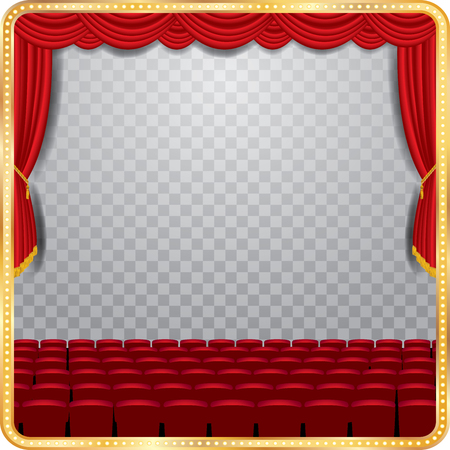 reveal: transparent empty stage with red curtain and empty auditorium Illustration