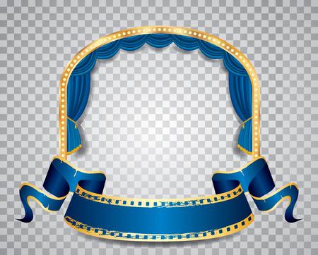 elipse: etapa elipse con cortina azul, marco de oro, lámparas de bulbo bandera del grunge en blanco y sombra transparente