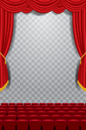 transparent empty stage with red curtain and empty auditorium, layered and editable