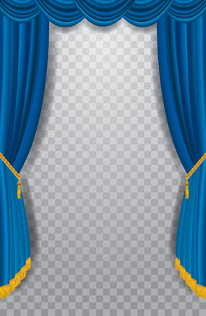 transparent empty stage with blue curtain, show business editable background
