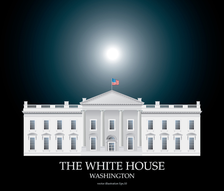 first house: detailed vector drawing of the White house facade on black background with moonlight Illustration