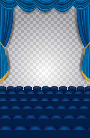 transparent background: transparent empty stage with blue curtain, show business editable background