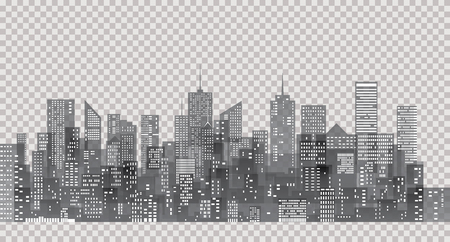 white windows on city skylines, transparent cityscape background, editable and layered 免版税图像 - 68807074