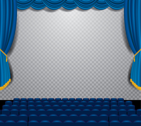 show business: transparent empty stage with blue curtain, show business editable  transparent shadow