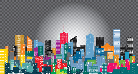 white on city skylines, color cityscape  editable and layered