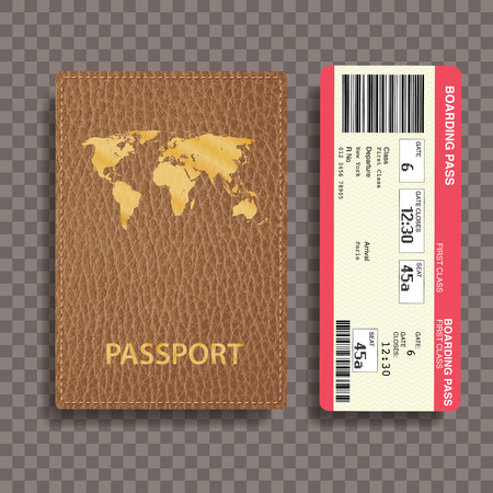 brown leather: brown leather passport with boarding pass, transparent shadow Illustration