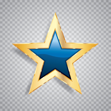 golden blue star with transparent shadow, commercial success icon Illustration