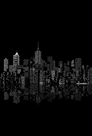 windows on abstract city skylines in black and white with reflection in water Illustration