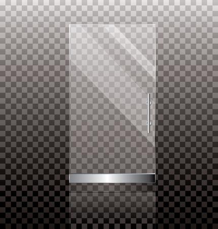 forepart: vector illustration of transparent glass door for shop or commercial building entrance Illustration