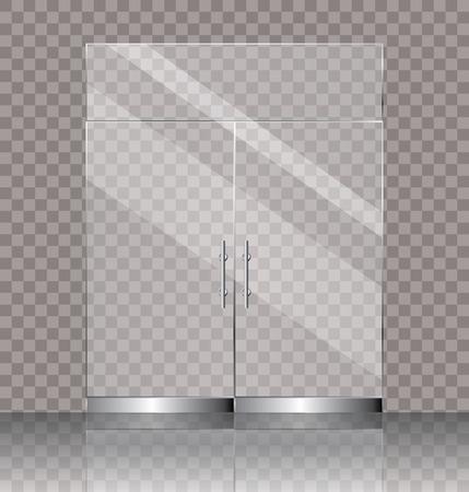 vector illustration of transparent double glass door for shop or commercial building entrance