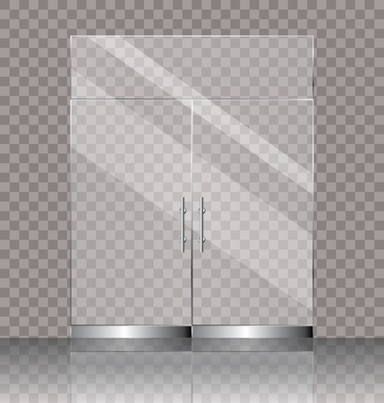 vector illustration of transparent double glass door for shop or commercial building entrance