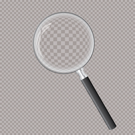 vector illustration of transparent magnifying glass, layered and editable
