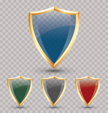 golden symbols: set of vector color glass transparent shields with golden frame, guard and security symbols, layered and editable Illustration