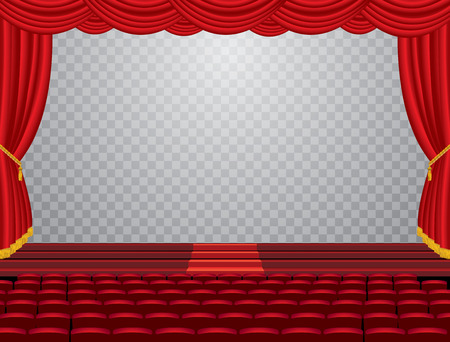 auditorium: vector transparent empty stage with red curtain and empty auditorium, layered and editable Illustration