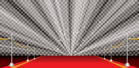performance art: wide illustration of empty red carpet with transparent starburst, editable and layered