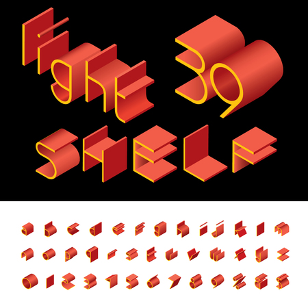 3D isometric red and yellow alphabet like shelfs, grouped and editable lowercase letters.