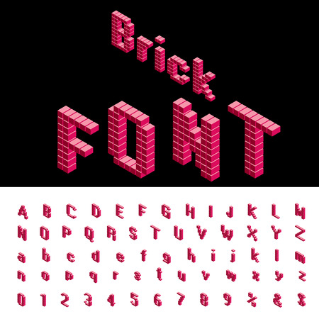 3D isometric red brick alphabet, grouped and editable
