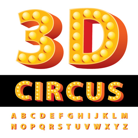 textual: vector golden and red entertainment, circus or casino letters with bulb lamps