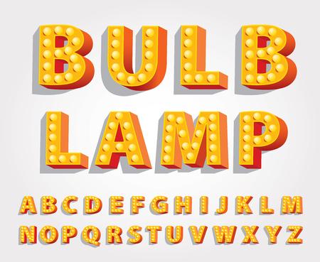 Vektor gelb orange Unterhaltung und Casino-Buchstaben mit Glühbirnen Lampen