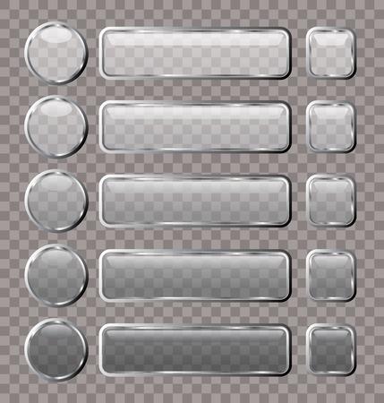 buttons web: vector glass transparent web buttons