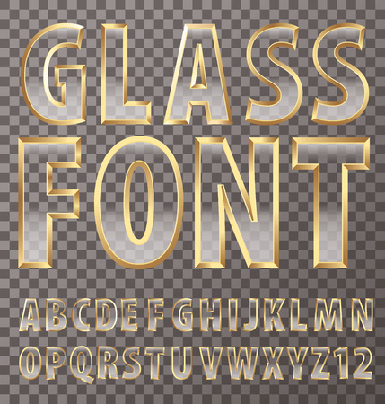 onyx: vector transparent alphabet with glass and golden frame